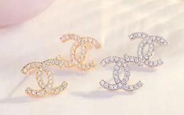 Boucles d'oreilles 18k en Ligne-Chaude De Luxe Double Lettre Boucles D'oreilles Femmes Célèbre Designer Boucles D'oreilles Stud Parti Bijoux De Mariage Cadeau De La Saint Valentin présente Accessoires 5723