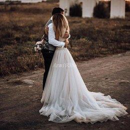 2019 brautkleid zwei eins Schatz Ärmel Boho Strand Brautkleider Sweep Zug 2019 Perlen Tüll Brautkleider vestidos de novia Plus Size