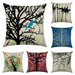 sedie africane Sconti 21 Styles Art Tree 45 * 45cm Cuscino per la casa Cuscino di lino Cuscini Camera da letto Set Regali di Natale Decorazioni per la casa Decorazione del partito