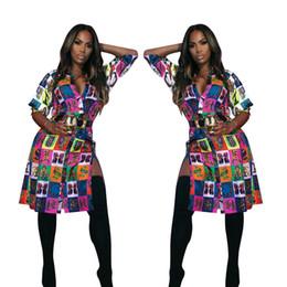 Robes manches trois-quarts en Ligne-NOUVELLES femmes nouvelles manches trois-quarts robes nationales imprimées chemisiers chemises côté fendue longueur au genou robe vintage robes