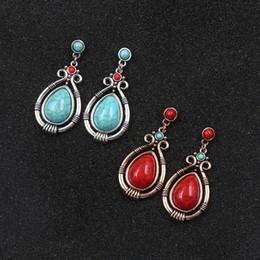 Gioielli in bronzo indiano online-Tibet Silver Bronze Vintage Bead Blue Red Orecchini a goccia in pietra naturale Piccola per le donne Partito Bohemian Indian Gypsy gioielli etnici