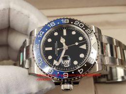 Мужские часы eta движение онлайн-Mens Batman V9 Версия 904L Сталь N Super Factory Cal ETA 3186 Черный Синий Керамический GMT Дайвинг Скользящий замок Механизм Автоматические мужские часы
