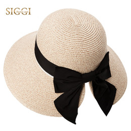 a0792113144 SIGGI Women Floppy Summer Sun Straw Hats Solid Bowknot Soft Wide Brim UPF  50+ UV Caps Foldable Beach Fashion For Girls 89015  47421
