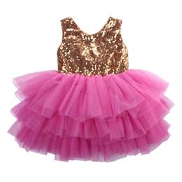 Festzug kleider prinzessin tüll gekräuselte kinder online-Sequin Kleinkind-Kind-Kind-Mädchen-Kleidung Prinzessin Kleider Rüschen Formal Pageant Layered Tüll-Partei-Kleid 2-7Y