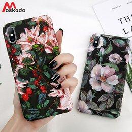 Vintage telefon grün online-Moskado Weinlese-Blumen-Telefon-Kasten für iphone X XS MAX XR für iphone 6 6s 7 8 plus grüne Blätter für iphone 7 harte PC-volle Abdeckung