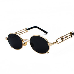 22d9fb96da retro steampunk sunglasses men round frame vintage 2019 metal frame gold  black fashion oval sun glasses for women red male designer shades
