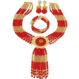 Joyas de oro de imitación online-Imitación Red Champagne Gold AB Sistemas de joyería nupcial de cristal africano para boda de mujer 6C-ZPHLS-26
