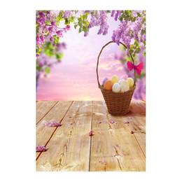 Argentina 5x7FT Flores violetas Rama Huevos de Pascua Canasta Piso de madera Estudio de fondo personalizado Fondos Fondos Banner Vinilo 220 cm x 150 cm cheap easter egg photos Suministro