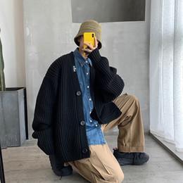 Корейский большой вязаный свитер онлайн-2019 Японская осень новая корейская версия большого размера свободные V-образным вырезом кардиган вязать пара улица повседневная свитер