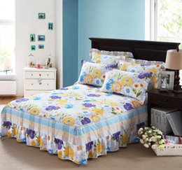 матрац из хлопчатобумажной ткани Скидка Pastoral flowers twin full queen size Cotton 1pcs bed skirt bedspread Mattress Protective Cover Bed Skirt Home & Garden
