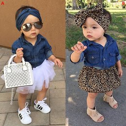 toddler girl christmas shirts Coupons - 3Pcs Set Fashion Toddler Girl Denim Fashion Set Clothing Children Long Sleeve Shirts Top+Shorts Skirt+Bow Headband 3PCS Outfits