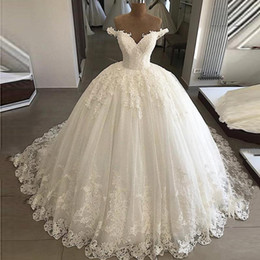 Elegante, blanco apagado, hombro, boda, vestidos de bola, encaje, parte inferior, apliques, nupcial, formal, largo, hinchado, vestidos, más, tamaño, con, enagua desde fabricantes
