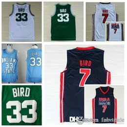 d214e1b8ef8 NCAA Boston 33 Bird Jersey Larry Celtic Indiana State Sycamores Basketball  College Jerseys 1992 NEW Dream Team High School Green White