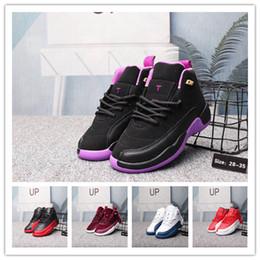 on sale 3bdb0 6a5c5 Garçons Filles jeunesse 12 12s Gym Rouge Hyper Violet Violet Enfants  Chaussures De Basketball Enfants Rose Blanc Bleu Gris Foncé Toddlers Cadeau  D  ...