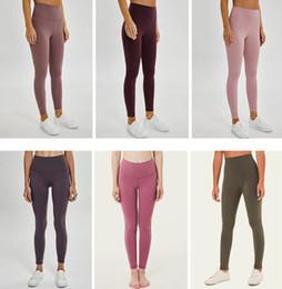 braceletes crossfit Desconto LU-32 cor sólida roupas de ginástica mulheres calças de yoga cintura alta Ginásio Sports leggings desgaste Elastic Senhora da aptidão geral completa calças justas Y0007 Workout