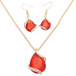 Argentina Joyas de lujo Pendientes de cristal Collares Conjuntos de joyería de gota de agua para mujeres Diseño geométrico Boda Suministro