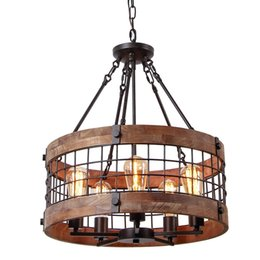 modern wooden lamps Promo Codes - Round Wooden Chandelier Metal Pendant Lamp Five Lights Decorative Lighting Fixture Antique Ceiling Lamp Industrial Loft Bar Cafe Lamp
