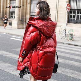 Lusumily Winter weiße Ente Feder langen Mantel Damen Daunenjacke 2019 New Hooded Zipper loser Parka Schwarz Rot Damen Jacken