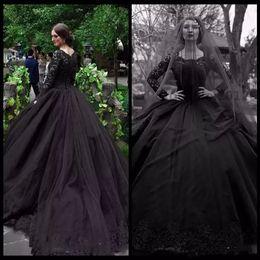 lentejuela perla cuadrada Rebajas Vestido de fiesta gótico negro Vestidos de novia Cuello cuadrado Apliques de manga larga Vestido de novia con lentejuelas Perlas Faldas con gradas Vestido de novia