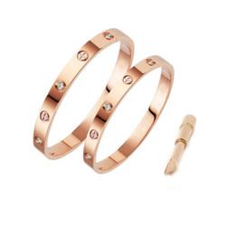 Pulsera de tornillo de amor online-Pulsera del diseñador de la joyería de las mujeres de la moda con las pulseras de oro para hombre de cristal del acero inoxidable 18k amor pulsera brazalete bracciali