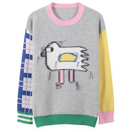 2019 suéter mujer pájaro Las mujeres caen O-cuello puente lindo pájaro patrón jacquard suéter de manga larga casual jerseys estudiante fresco top de punto suéter mujer pájaro baratos