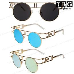 Steampunk Round Sunglasses Women Men Coating Sun Glass Inspired Unique 80/'s R...