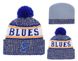 5e9110475 2018 New Arrival Blue Knit Beanies Quality Winter Cap Skullies Ice Hockey  Pom Embroidery Cuff Caps Free Shipping discount ice caps beanies