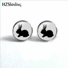 bunny earrings Promo Codes - 2019 NEW Bunny Rabbit Earring Carrot Ear Stud Animal Glass Photo Cabochon Earrings Silver Jewelry Ear Studs For Women HZ4