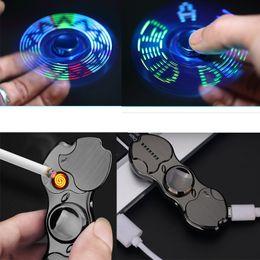 Elettronica giroscopica online-Mini Creative USB Charging Lighter Fingertip Gyro Glow Light Spinner Accendino con ricarica elettronica Accessorie per uomo