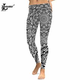 leggings bohemios Rebajas 3D Mujeres Leggings impresos digitales Patrón de pierna de moda elástica ajustada Estilo bohemio Leggings negros de talla grande