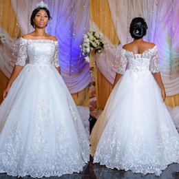 corset half sleeve wedding dress Promo Codes - Luxury Sheer Half Sleeves African Wedding Dresses 2019 Applique Lace Ball Gown Arabic Dubai Church Wedding Bridal Gowns With Corset Back