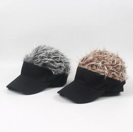 82aea0ee0fc Fake Hair Wig design Caps Men s Women s Toupee Funny Hair Baseball Sun  Visor Hats Unisex Cool Gifts LJJK1195 inexpensive cool baseball cap designs