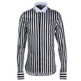 2019 chemises à col haut ajustées pour hommes Classique Noir Blanc Rayé Hommes Chemises Coton Haute Qualité Slim Fit Col Carré À Manches Longues Chemises 2019 Nouvelle Mode Tops Mâle promotion chemises à col haut ajustées pour hommes