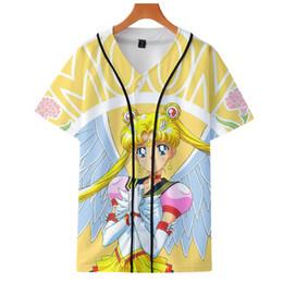 Lua de marinheiro de desenhos animados de anime on-line-Sailor Moon anime japonês dos desenhos animados 3D impressão uniforme de beisebol de manga Curta Homens / Mulheres Casual tops de beisebol de alta qualidade