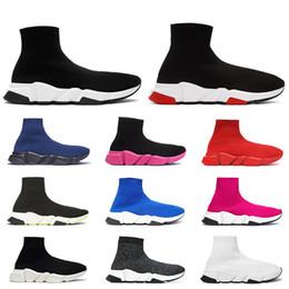 Холщовая обувь синяя онлайн-Новое поступление роскошные кроссовки скоростной тренер дизайнер мужчины женщины повседневная обувь черный белый зеленый блеск красный мода мужские носки обуви бегун