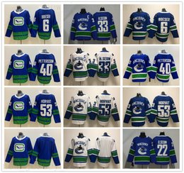 camiseta de hockey 33 Rebajas Nuevo Vancouver Canucks Jerseys Hockey 40 Elias Pettersson Jersey 53 Bo Horvat 6 Brock Boeser 22 Daniel 33 Henrik Sedin Azul Blanco Cosido