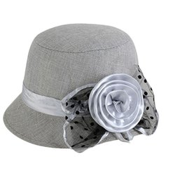 9e74d2b1b89 Fashion Sweet Elegant Lady Flax Floral Vintage Classic Retro Bowler Formal  Church Hat Wedding Fedora Cap Female Party Chapeau D19011103