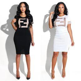 58336437ae 2019 nuevas tendencias moda falda vestido Ms tendencia Big F impresión de  letras Vestido ajustado Moda