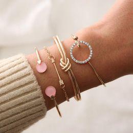 Mode armband sommer online-Armband 4 stück set weibliche mode gold und silber diamant geknotet strand party sommer modeschmuck beliebten großhandel