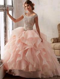 2019 quinceanera kurze kleider pink Wunderschöne Ballkleid Quinceanera Kleider 2019 Perlen Kristall Sweet 16 Kleid Vestidos De 15 Anos Nach Maß Maskerade Ballkleid