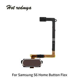 Teclado táctil dorado online-50 piezas para Samsung Galaxy S6 G920 S6 Edge G925 Botón de inicio Menú de cable flexible Teclado Teclado Botón Reemplazo del sensor táctil Negro Oro blanco