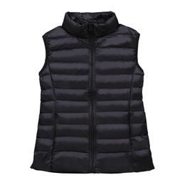 Chalecos de invierno blanco para mujer online-sencillo hacia abajo chaleco para mujer chaquetas sin mangas del chaleco de invierno pato blanco chaleco las tapas del otoño de gran tamaño M L XL XXL XXXL