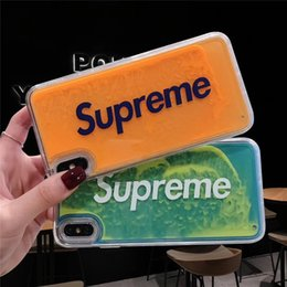 Néon brille en Ligne-Étui mobile de marque Sup Luminous Neon Sand pour iPhone 6 6s 7 8 plus couverture de sables mouvants liquide Glow In The Dark pour iphone XS MAX X XR