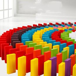 2019 dominos jouets Intelligence Jouets Bois Dominoes Jeu De Société Enfants Cadeau 120 Pcs Couleurs Mélanger Début Éducatif 4 8 8ml F1 dominos jouets pas cher
