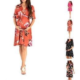 Vestidos de maternidade soltos on-line-2019 boa qualidade Maternidade das Mulheres Vestido de Verão Floral Estampa de Impressão Sem Mangas Com Decote Em V Solto Doce Tornozelo-comprimento Vestido de Grávida Vestido De Verão C51