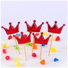 2019 topo de bolo de coroa Festa de aniversário Decoração Do Bolo Colorido Princesa Coroa Cupcake Escolhas Sinal Cupcake Topper Para O Partido Decoração Do Bolo cyq00122 topo de bolo de coroa barato