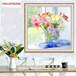 2019 pinturas fénix YGS-368 DIY Parcial 5D Bordado de diamantes El jarrón Lily Diamante redondo Pintura Kits de punto de cruz Diamante Mosaico Decoración del hogar