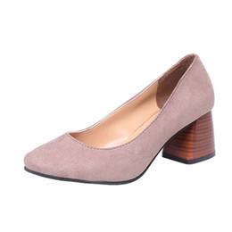 a04cbc12372b Designer Dress Shoes Women Sandals Summer 2019 Flock Leather Mid-Heels  Pumps Fashion Close toe Sandals Women Size 35-39 Concise Spring