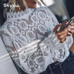 mangas largas peplum top de crochet Rebajas Skyuu 2019 blusa de encaje Negro de verano de la manga blanca larga superior para las mujeres de alta calidad camisas para mujer elegante de la vendimia tops y blusas
