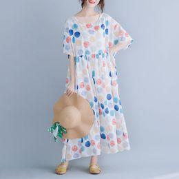 2019 punto di vestito in stile coreano Abiti lunghi di grandi dimensioni delle donne Chiffon Dress Swing coreano Abiti lunghi Polka Dot Holiday Style 2019 New Fashion punto di vestito in stile coreano economici